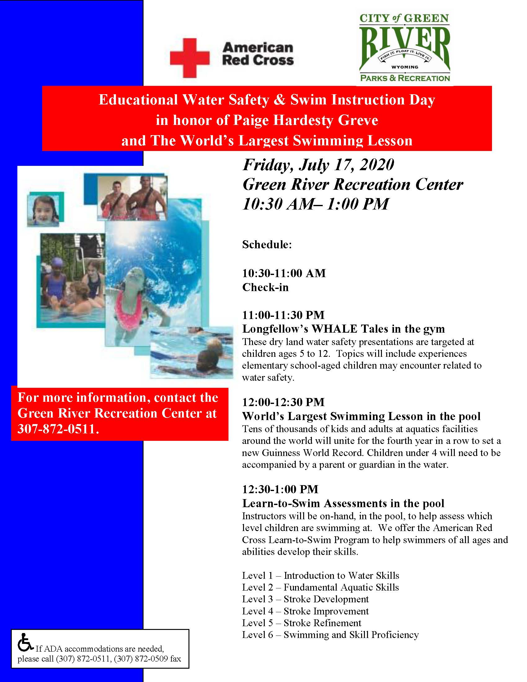 Water Safety Day.Largest Swim Lesson flier 7.17.2020